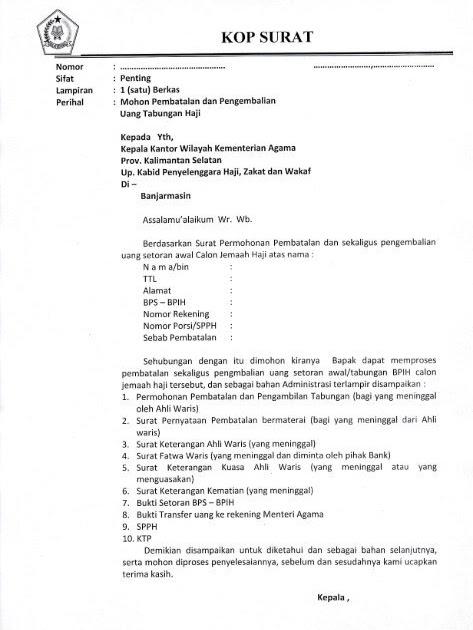 Contoh Surat Kuasa Ahli Waris Pembatalan Haji Contoh Seputar Surat