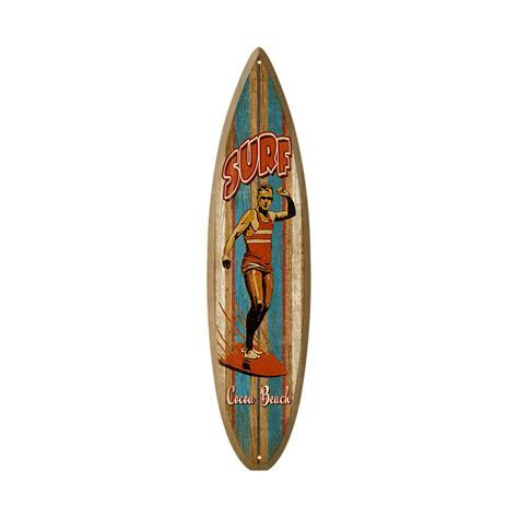 Old School Surfer   Surfboard Wooden Sign   Old Wood Signs