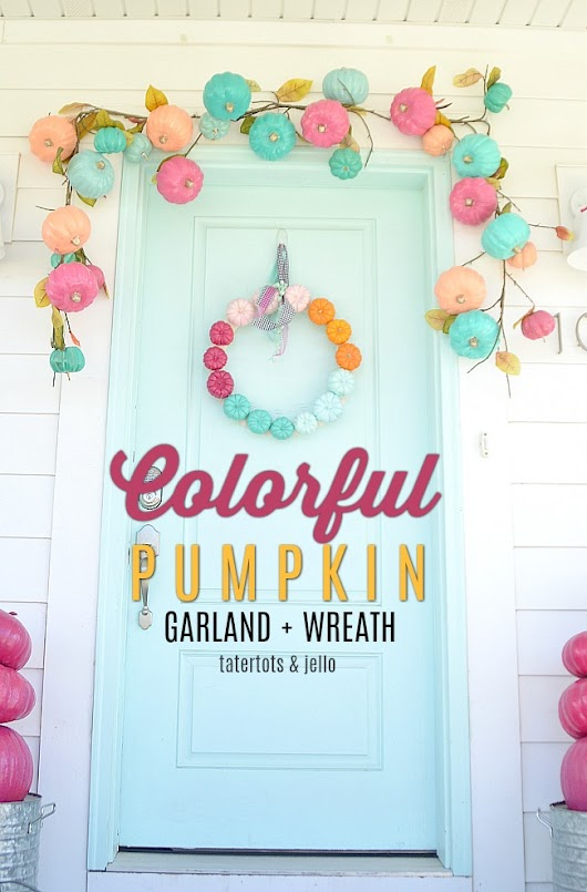 Make a Super Easy Pumpkin Rainbow Wreath - paint pumpkins for a simple and colorful wreath!