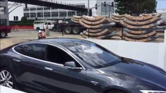 Elon Musk shows off car elevator test for the Boring Company's fast-track tunnel