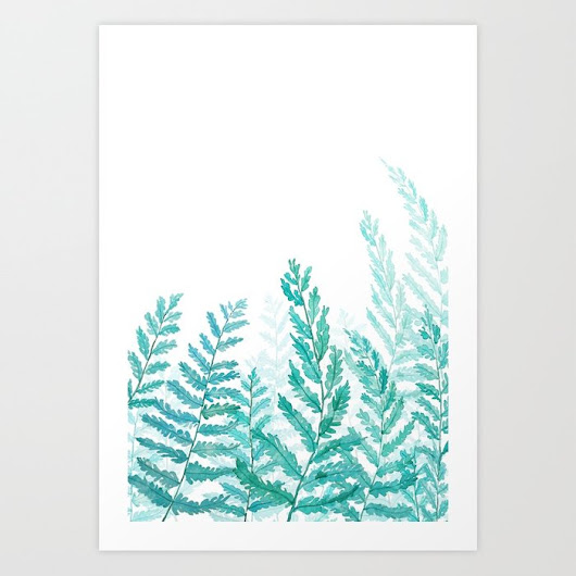 green fern watercolor Art Print by colorandcolor | Society6