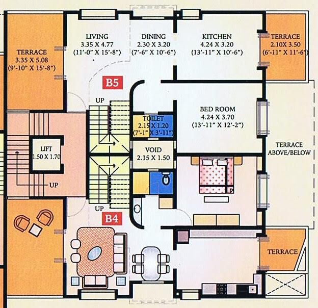 A J Serene Ram Indu Park Baner Pune - 2nd Floor - B 5 & A 5 Duplex - Living, Dining, Kitchen, & a Bedroom