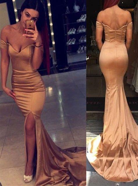 Elegant Off the shoulder Mermaid Long Prom Dress with Side