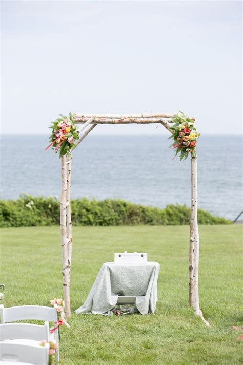 Beautiful birch log wedding arbor.   Wedding   Pinterest