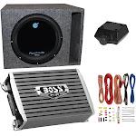 Planet Audio 1800W Subwoofer + Boss 1500W Amplifier w Amp Kit +Q-Power Enclosure