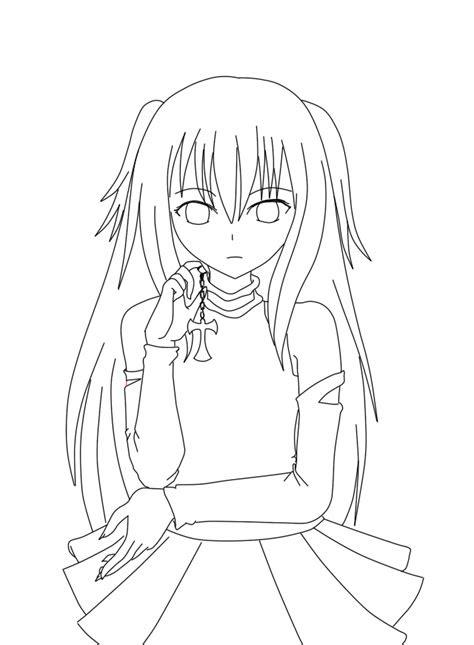 anime girl lineart  zazawii  deviantart