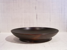 漆芸作品-イチョウ皿6寸