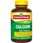 Nature Made Calcium 600 mg Softgels with Vitamin D3 - 100ct