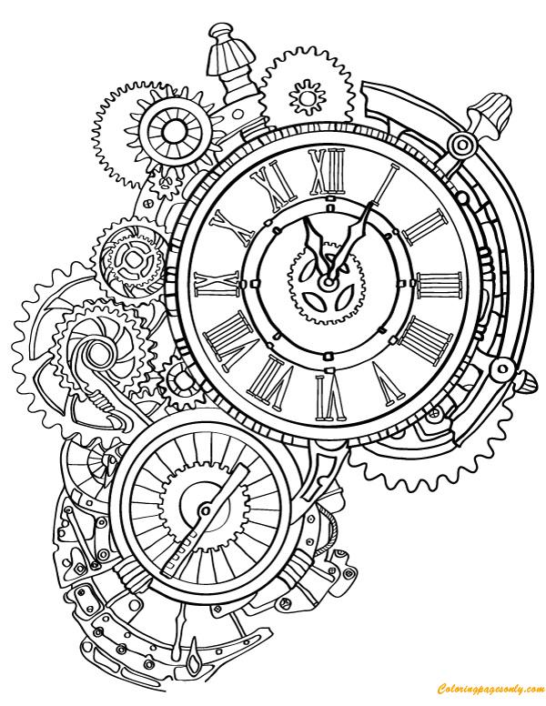 steampunk wall clock00