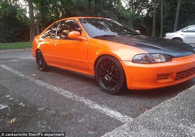Ebron, the boyfriend of Lonzie's mom, had told police he saw his orange 1995 Honda Civic, pictured, being driven away with the little boy inside