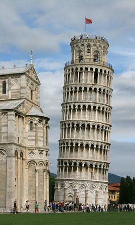 Leaning Tower of Pisa, the Puerta de Europa or in English, Gate of Europe, in Madrid, Spain