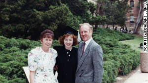 Lisa O\'Neill Hill poses with her parents Moyra and Mike O\'Neill at her graduation from UCLA in 1990.