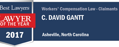 "David Gantt voted Best Lawyers in America ""Lawyer of the Year"" for Workers' Compensation in Asheville 