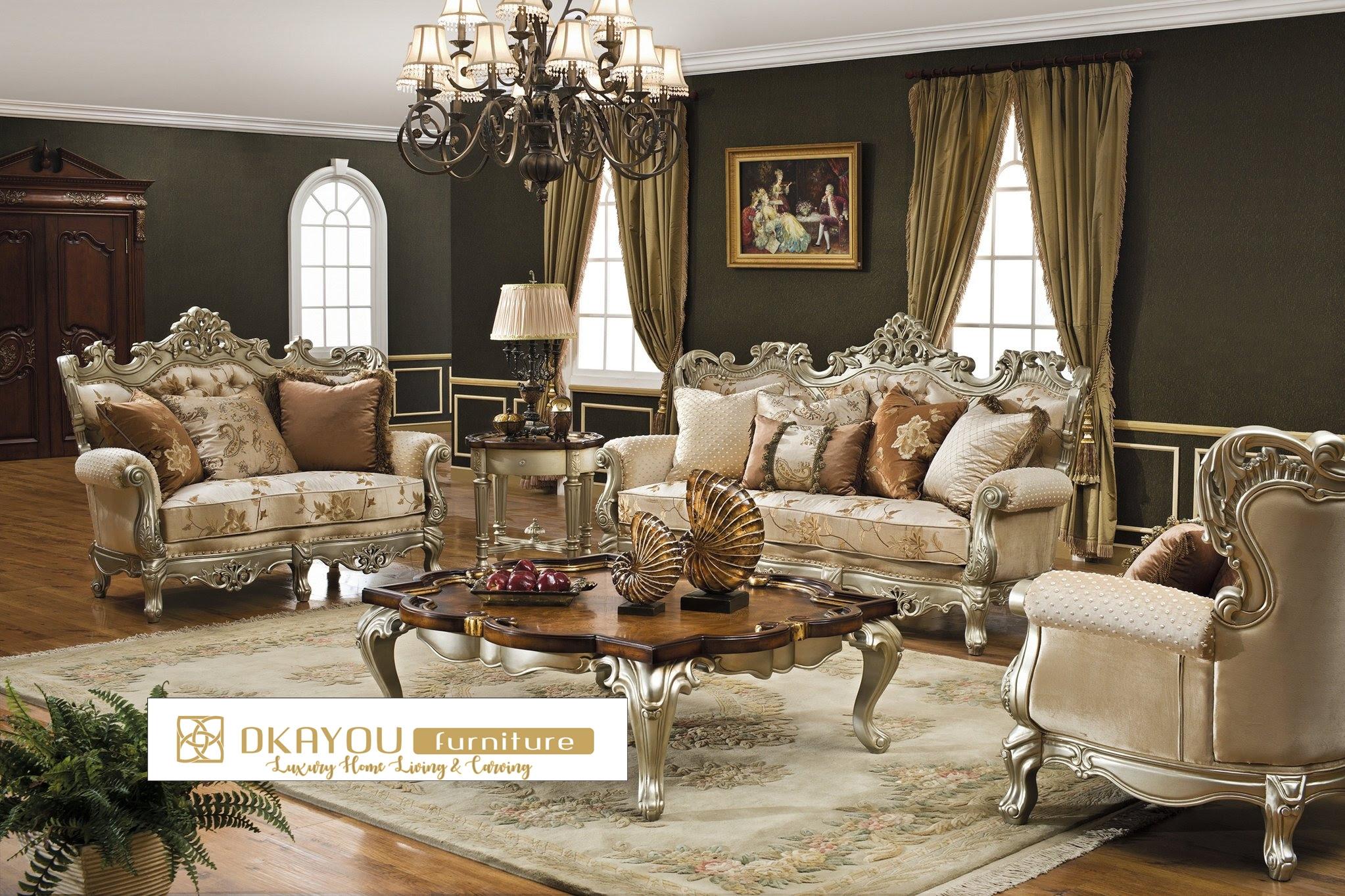 Set Kursi Sofa Tamu Mewah Klasik Sofa Ruang Tamu Model Baru Dkayou