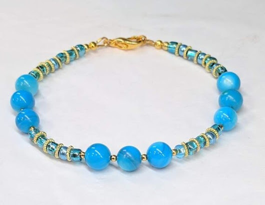 Ocean Blue Bead Bracelet Glass Bead Blue Shell bead Summer