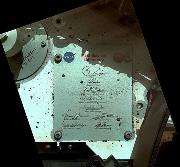 An image of a plaque bearing the signatures of President Obama, Vice President Biden and other U.S. officials that's on the Curiosity Mars rover.