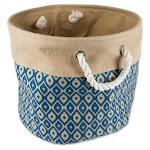 "DII 12"" Round Modern Fabric Small Burlap Ikat Storage Bin in Blue - CAMZ36060"