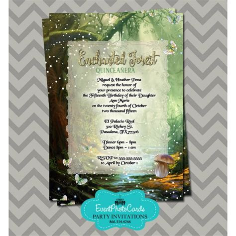 Enchanted Forest Quinceanera Invitations, Sweet Fifteen