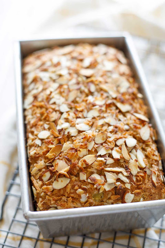 Healthy Hawaiian Banana Bread with Pineapple, Coconut and Almonds - Two Healthy Kitchens