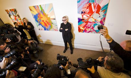 Damien Hirst at Sotheby's auction rooms this morning to promote Beautiful Inside My Head Forever, an auction of his work
