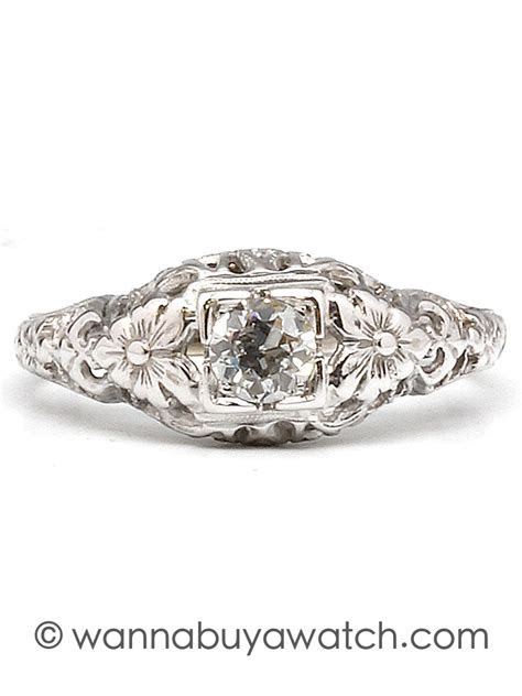 1940's 18k White Gold Engagement Ring