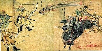 Foto Pasukan Samurai Suenaga menghadapi serangan panah dan bom Mongol. Karya Moko Shurai Ekotoba, ca. 1293
