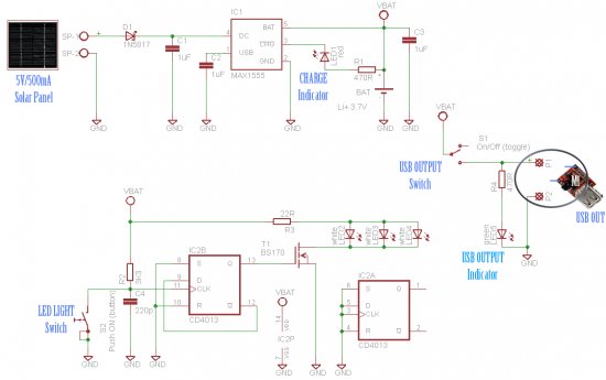 Solar Window Charger Schematic