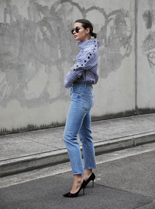 Le Fashion Blog Striped Button Sleeve Shirt Cropped Fitted Denim Black High Heels Via Harper And Harley