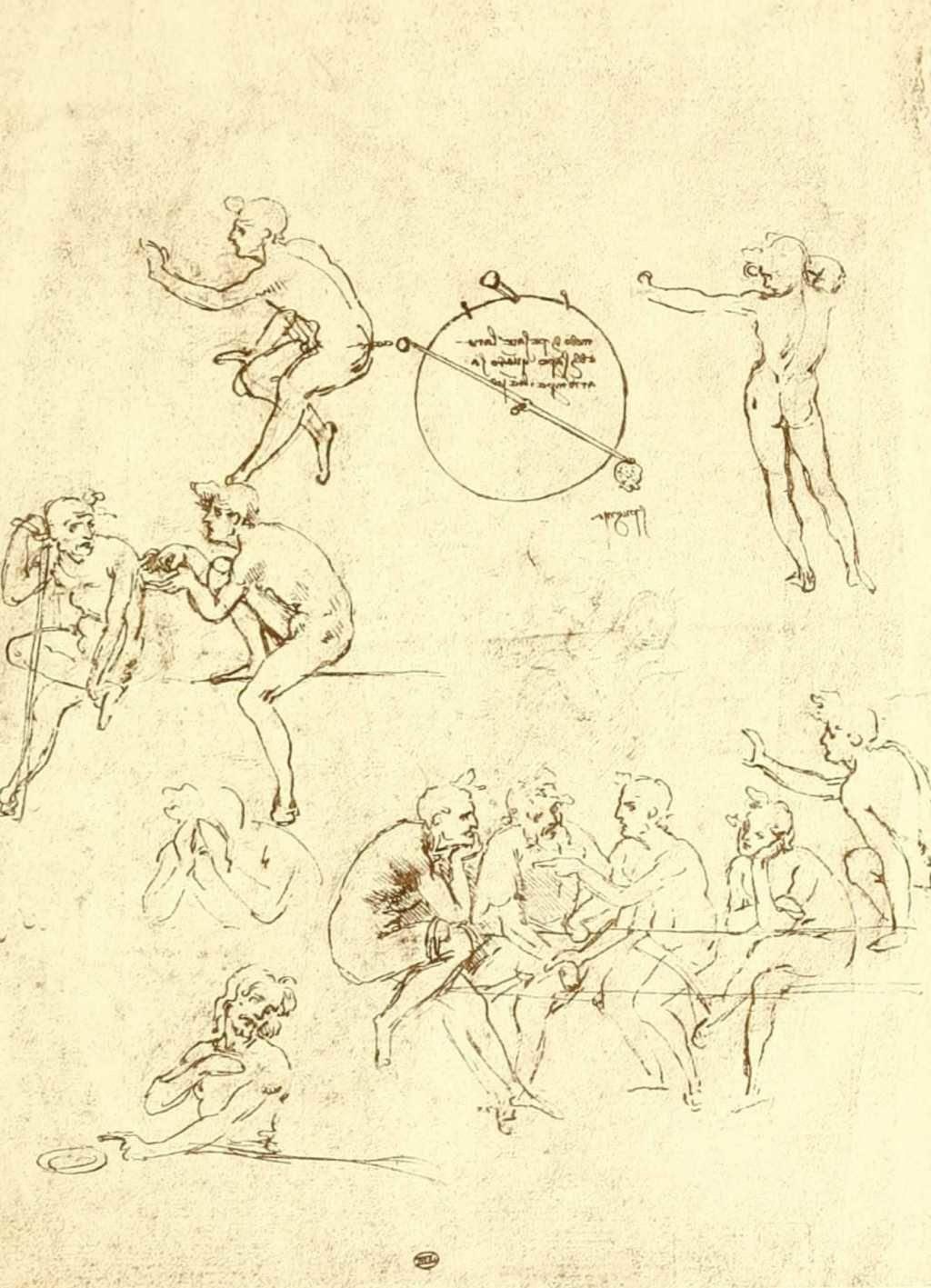 Dessin De Léonard De Vinci Croquis De Figures Education