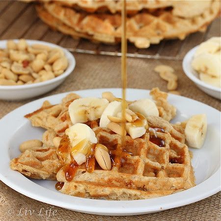 peanut butter waffles, maple syrup, banana