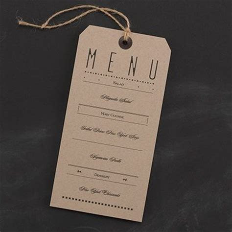 Typography Tags   Dinner Party Menu Card Show off the