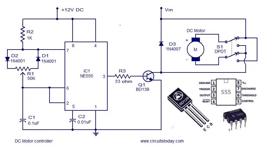 Dc motor control circuit diagram