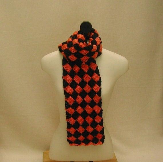 Orange and black entrelac scarf