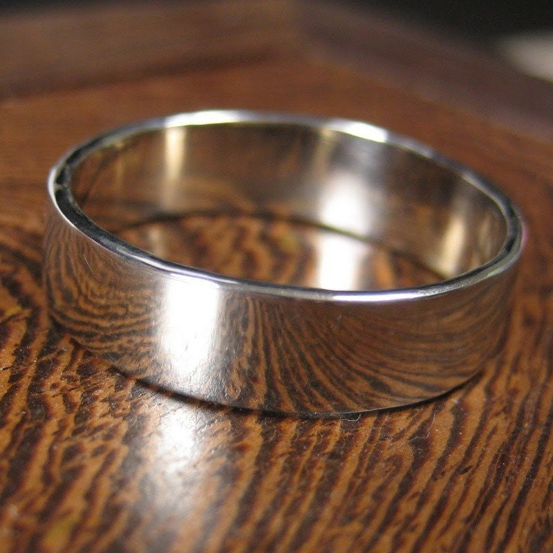 The Big Men's Ring, 14K White Gold Hand Forged Men's Band, 5mm size 10.25-12