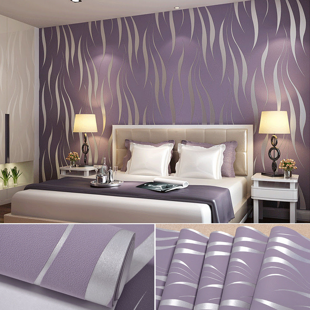 Bedroom 10m 3D Flocking Waves Non Woven Embossed Textured