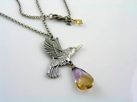 Hummingbird Necklace with Large Hammered Ametrine – WJ Handmade Jewelry