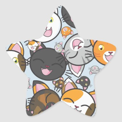 Oodles of Kitty-Stickers (Multiple Shapes) Star Sticker