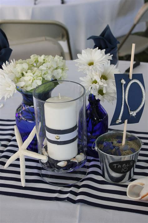 Navy Blue and White Centerpieces   My friend's Sister's