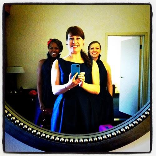 bridesmaids in the mirror