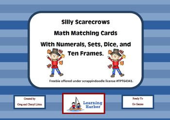 Freebie Silly Scarecrow Math Game Cards Numbers Ten Frames