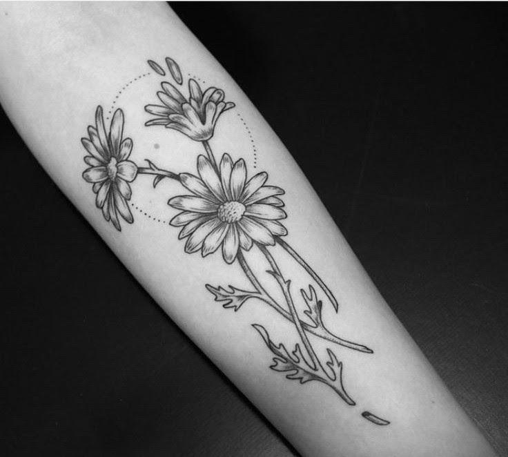Grey Ink Daisy Tattoos On Arm Sleeve