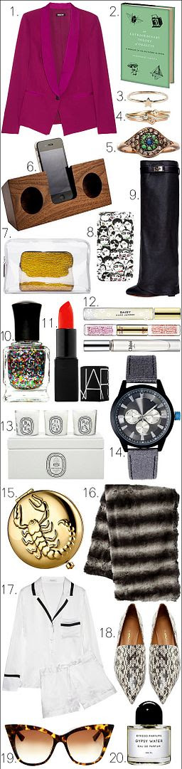 LE FASHION BLOG HOLIDAY GIFT GUIDE DKNY Fuschia Crepe Jacket An Extraordinary Theory of Objects by Stephanie LaCava Catbird Gold Star Ring BittersweetsNY Teensy Diamond Ring Ileana Makri Cat's Eye Diamond and Sapphire Ring in Pink Gold AHAlife Holdings Inc. Wooden Amplifier 3.1 Phillip Lim 2-in-1 Transparent 31 Minute Clutch Lanvin Printed iPhone Case Givenchy Black Leather Knee High Shark Tooth Boots Deborah Lippmann Nail Polish in 'Happy Birthday' NARS Lipstick in Heat Wave Marc Jacobs, COACH + Chloé Rollerball Perfumes Diptyque Boxed Set of 3 Votive Candles ASOS MENS Colour Detail Canvas Watch Estée Lauder Gold Zodiac Compact West Elm Ombre Faux-Fur Throw Equipment Jasper Brushed-Silk Shorts Pajama Set 3.1 Phillip Lim White Combo Snakeskin Spade Loafers  DITA Magnifique Cat-Eye Sunglasses Byredo 'Gypsy Water' Parfum GUIDE FOR EVERYONE MOM DAD GUYS MEN BOYFRIEND FRIEND FAMILY