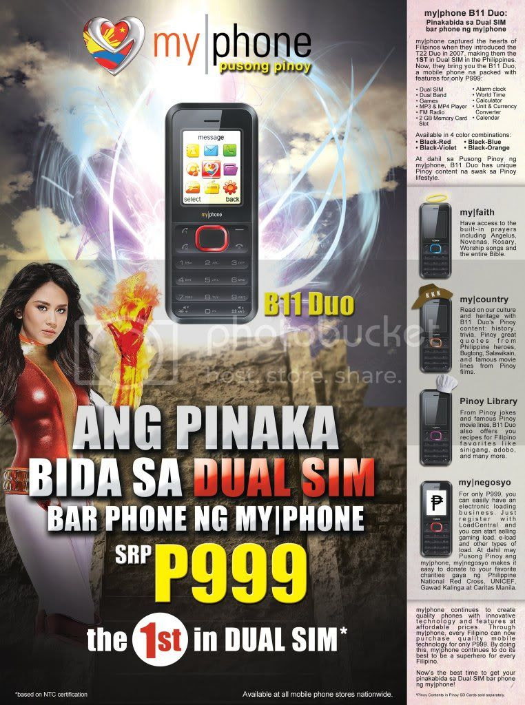MyPhone B11 Duo Dual Sim Bar Phone P999 only
