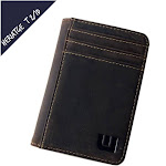 """Walleteras Front Pocket Wallet with RFID in Crazy Horse Leather - Double Espresso 'T2"""" T/2ID Heritage / Coffee"""