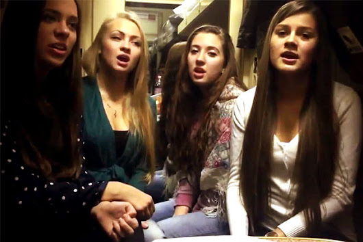 Beautiful Russian Girls Singing In A Train
