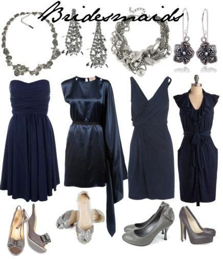 Dark blue with silver jewelry and grey pumps   mismatched