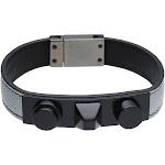 Saint Laurent 3 Clous Bracelet Silver Leather Black Studs S 441293