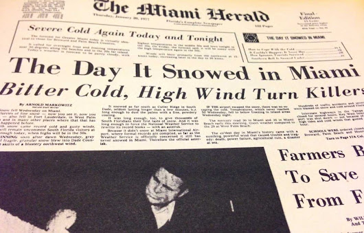 Forty years ago Miami saw its only snow. These days, it's simmering in record heat.