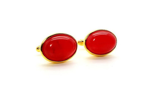 Red River Jade Cufflinks  Red Jade Cufflinks  Red Oval
