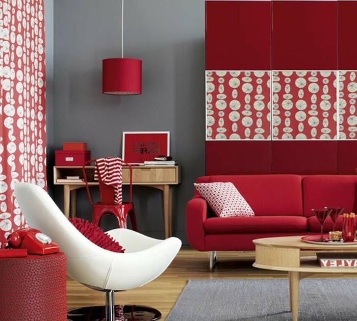 wohnzimmer einrichten grau rot - Single Schlafzimmer